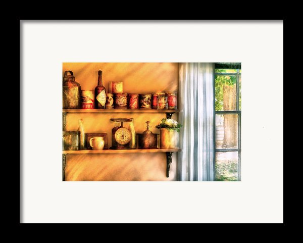 Jars - Kitchen Shelves Framed Print By Mike Savad