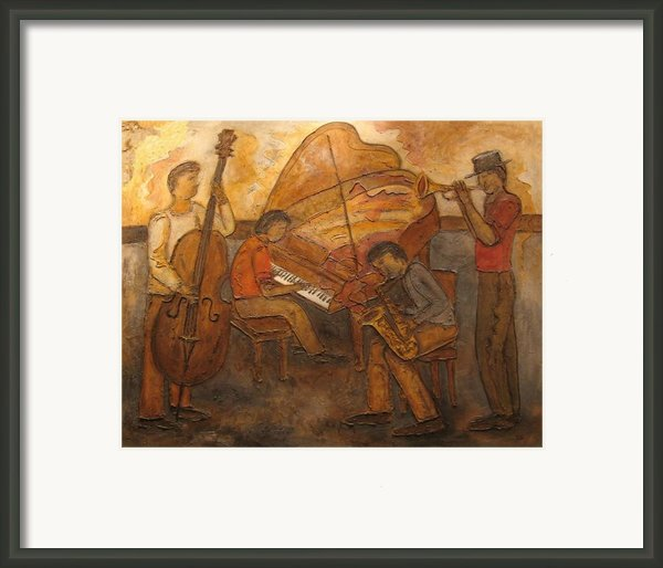 Jazz Quartet Framed Print By Anita Burgermeister