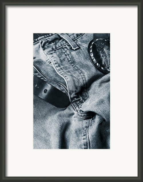 Jeans And Denim In Blue Framed Print By Christian Lagereek