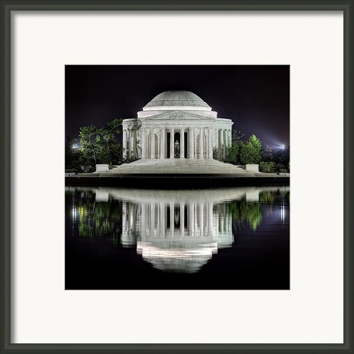 Jefferson Memorial - Night Reflection Framed Print By Metro Dc Photography