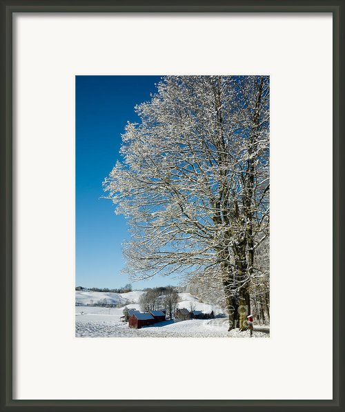 Jenne Farm Winter In Vermont Framed Print By Edward Fielding