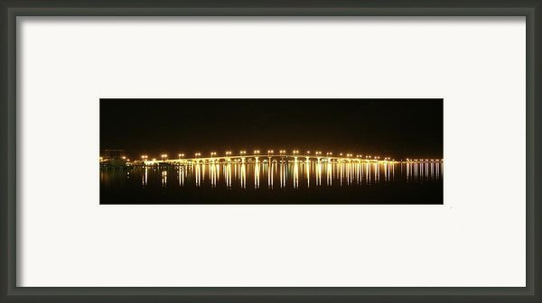 Jensen Causeway At Night Framed Print By Lynda Dawson-youngclaus