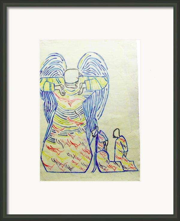 Jesus Guardian Angel Framed Print By Gloria Ssali