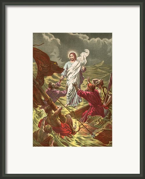 Jesus Walking On The Water Framed Print By Anonymous