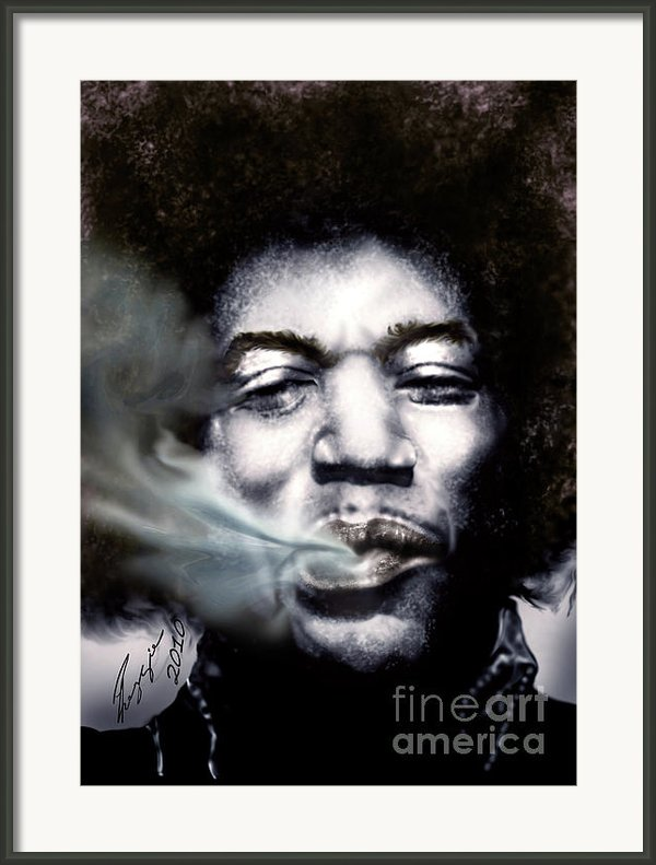 Jimi Hendrix-burning Lights-2 Framed Print By Reggie Duffie