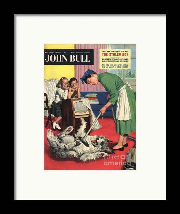 John Bull 1957 1950s Uk Dogs Cleaning Framed Print By The Advertising Archives