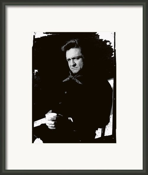 Johnny Cash Sitting With Cup  Old Tucson Az Framed Print By David Lee Guss