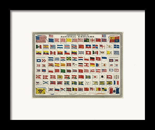 Johnsons New Chart Of National Emblems Framed Print By Nomad Art And  Design