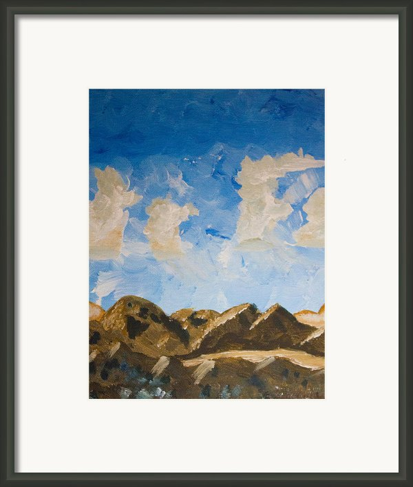 Joshua Tree National Park And Summer Clouds Framed Print By Carolina Liechtenstein