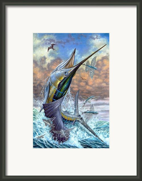 Jumping Sailfish And Flying Fishes Framed Print By Terry Fox