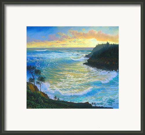 Ka Puka Alua Sunrise At Piahi  Aka Jawz  Painted At Actual Location On Maui Framed Print By Loren Adams