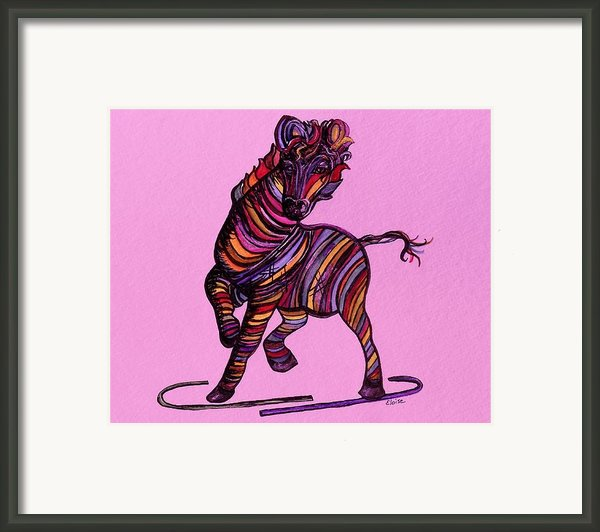 Kaleidoscope Zebra -- Baby Strut Your Stuff On Pink Framed Print By Eloise Schneider