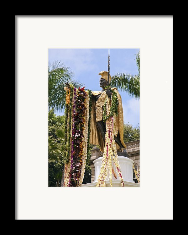 Kamehameha Covered In Leis Framed Print By Brandon Tabiolo