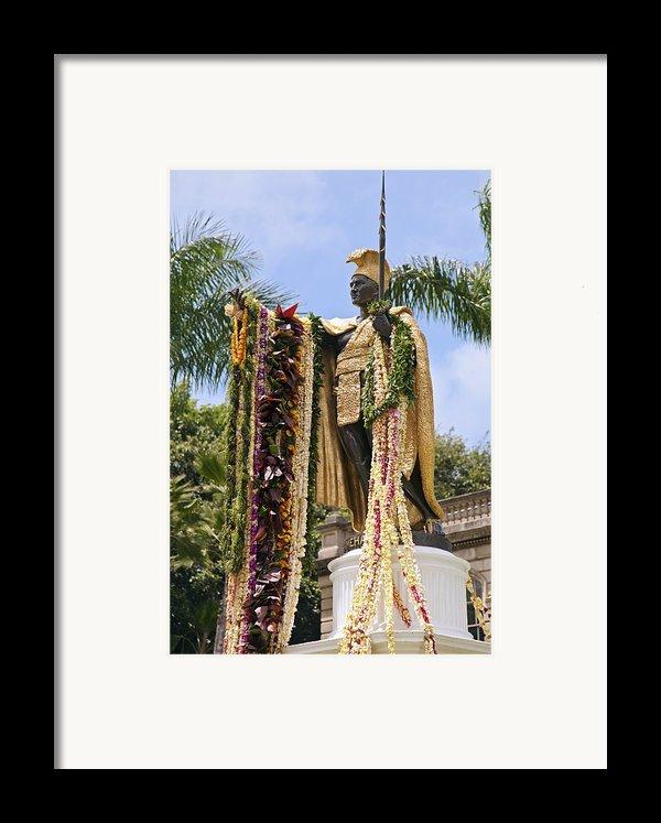 Kamehameha Covered In Leis Framed Print By Brandon Tabiolo