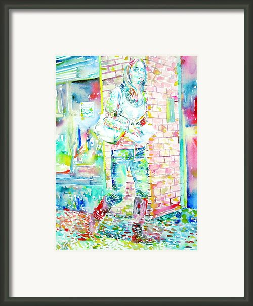 Kate Middleton Portrait.3 Walking In The Street Framed Print By Fabrizio Cassetta