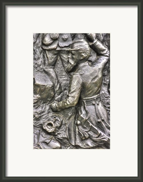Keep Moving - Charge Of The 106th Pa Volunteer Infantry To The Emmitsburg Road Detail-a Gettysburg Framed Print By Michael Mazaika