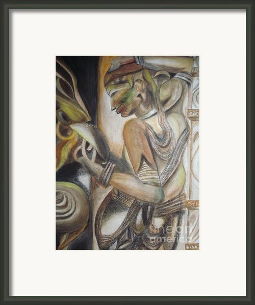 Khajuraho Tantrik Dancer Applying Make-up Framed Print By Prasenjit Dhar