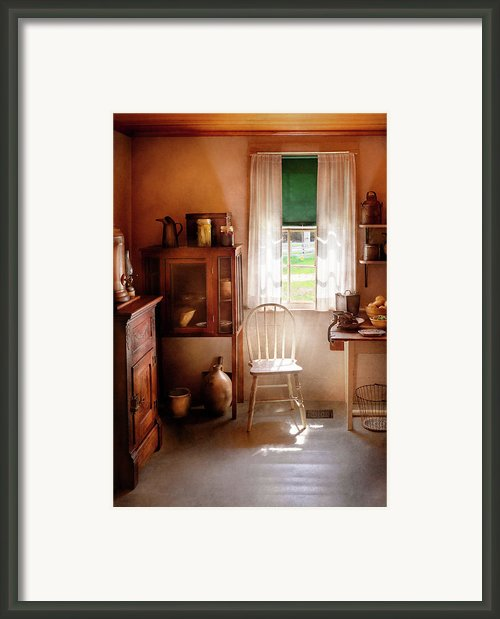 Kitchen - A Cottage Kitchen  Framed Print By Mike Savad