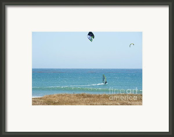 Kite Surfing And Wind Surfing Central Coast San Simeon California Framed Print By Author And Photographer Laura Wrede
