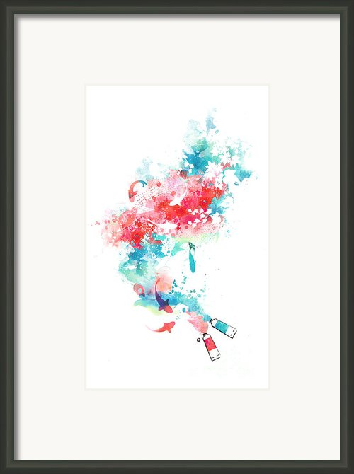 Koi Life In Water Color Framed Print By Budi Satria Kwan