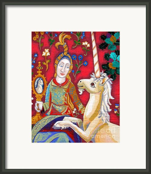 Lady And The Unicorn Framed Print By Genevieve Esson