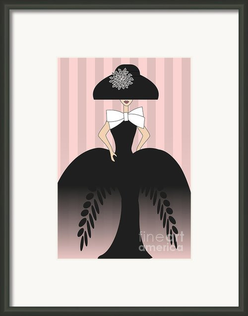 Lady In Black Ball Gown  Framed Print By Mira Dimitrijevic