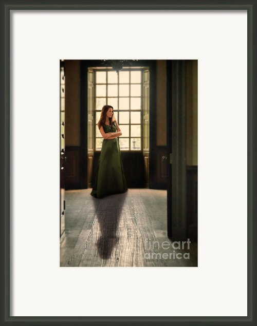 Lady In Green Gown By Window Framed Print By Jill Battaglia
