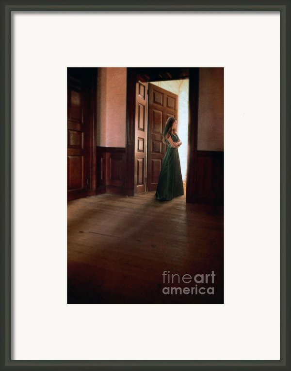 Lady In Green Gown In Doorway Framed Print By Jill Battaglia