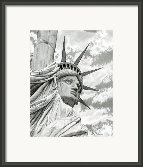 Lady Liberty Drawing Framed Print By Sarah Batalka