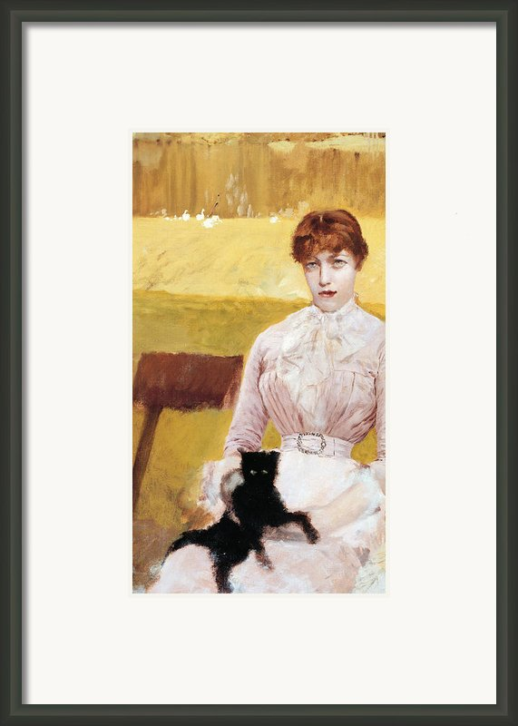 Lady With Black Kitten Framed Print By Giuseppe De Nittis