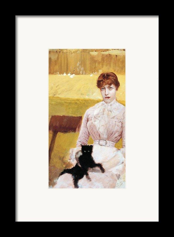 Lady With Black Kitten Framed Print By Giuseppe De Nittis