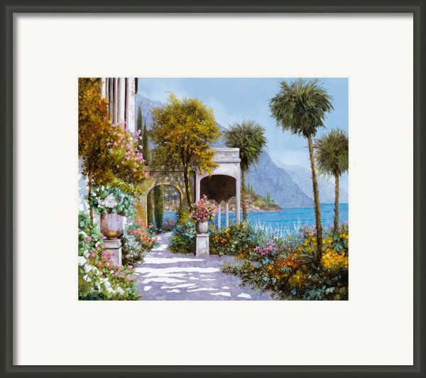 Lake Como-la Passeggiata Al Lago Framed Print By Guido Borelli