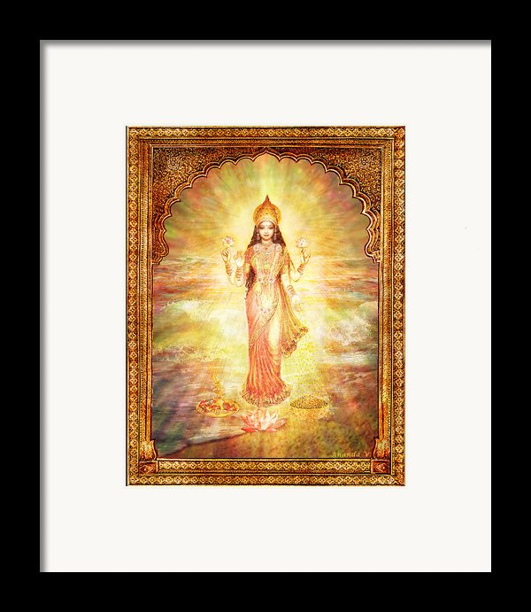 Lakshmi The Goddess Of Fortune And Abundance Framed Print By Ananda Vdovic