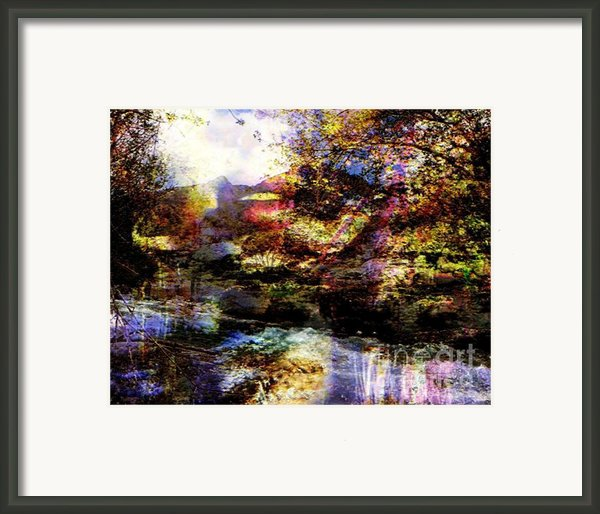 Landscape And Red Lips Framed Print By Navo Art