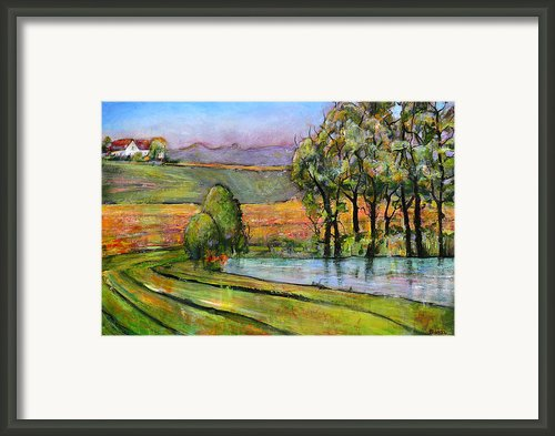 Landscape Art Scenic Fields Framed Print By Blenda Studio