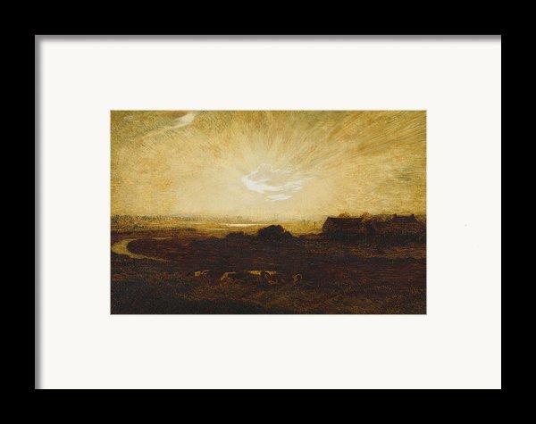 Landscape At Sunset Framed Print By Marie Auguste Emile Rene Menard
