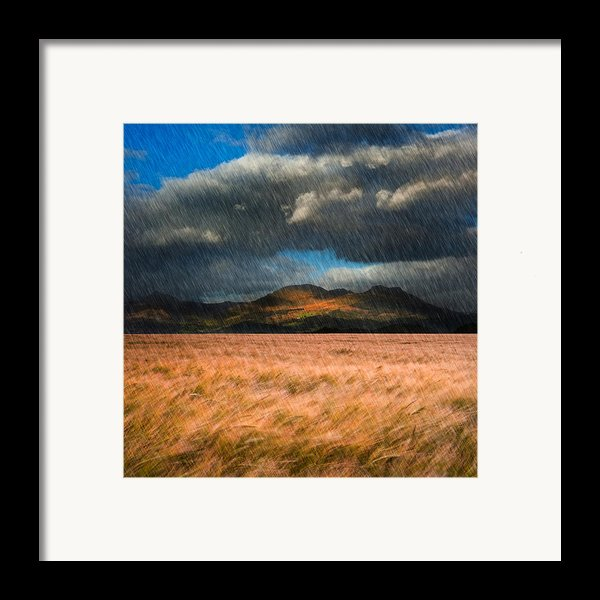 Landscape Of Windy Wheat Field In Front Of Mountain Range With D Framed Print By Matthew Gibson