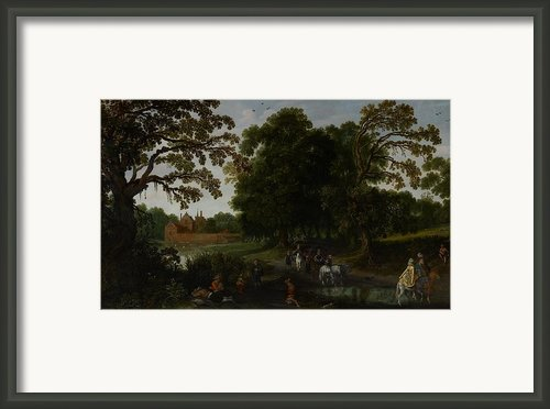 Landscape With A Courtly Procession Before Abtspoel Castle Framed Print By Esaias I Van De Velde