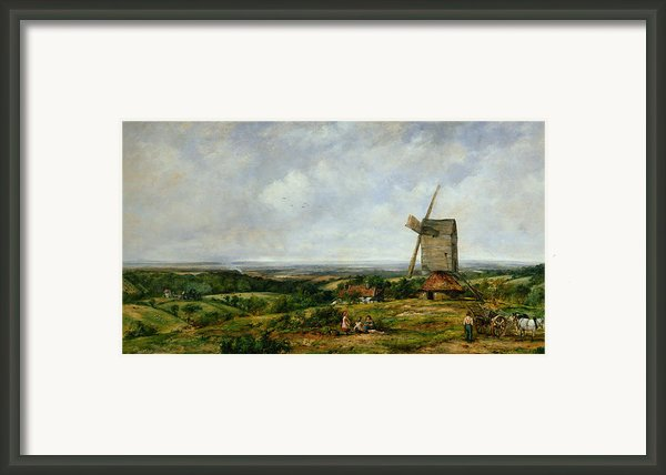 Landscape With Figures By A Windmill Framed Print By Frederick Waters Watts