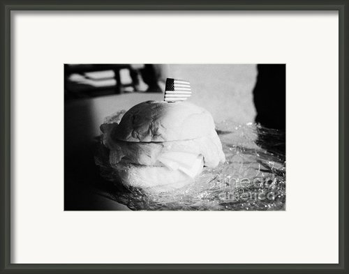 Large Turkey Salad Sandwich Wrapped In Cling Film Usa Framed Print By Joe Fox