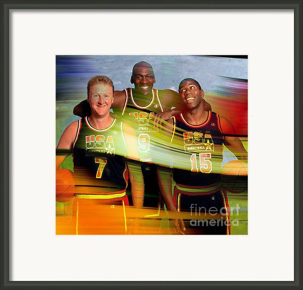 Larry Bird Michael Jordon And Magic Johnson Framed Print By Marvin Blaine