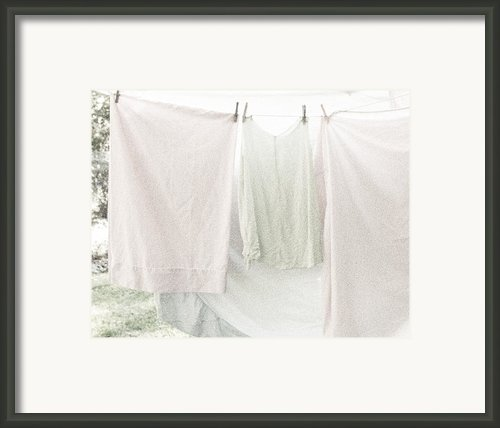 Laundry On The Line In Pink And Green Framed Print By Brooke Ryan