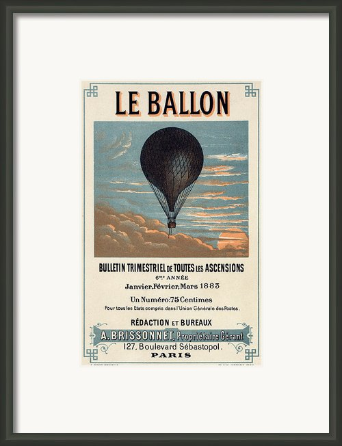 Le Ballon Advertising For French Aeronautical Journal Framed Print By Nomad Art And  Design