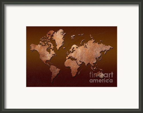 Leather World Map Framed Print By Zaira Dzhaubaeva