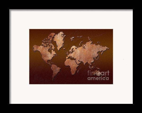 Leather World Map Framed Print By Zaira Dzhaubaeva