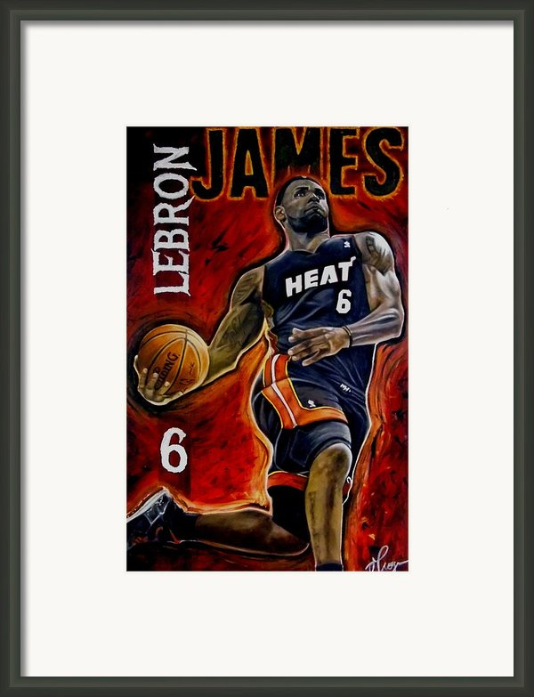 Lebron James Oil Painting-original Framed Print By Dan Troyer