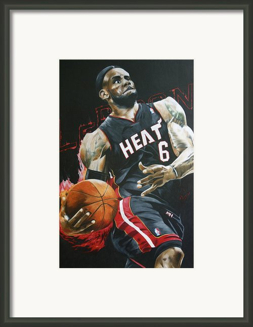 Lebron James On Fire Framed Print By Ryan Doray