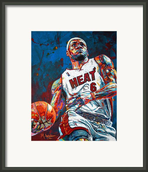Lebron King James Framed Print By Maria Arango