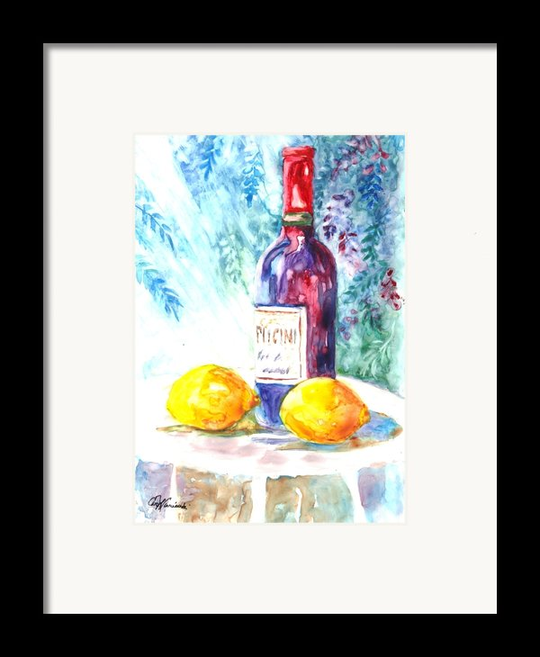 Lemons And Wine And A Little Sunshine Framed Print By Carol Wisniewski