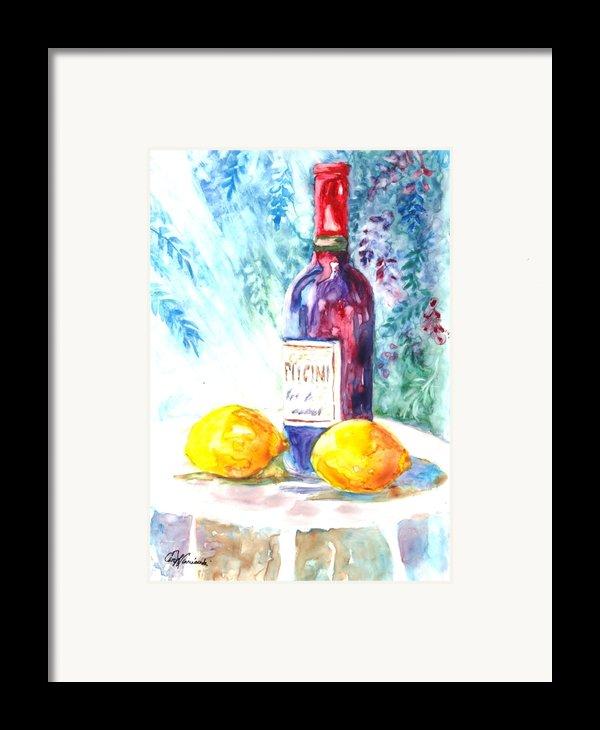 Lemons And Wine And A Little Sunshine Framed Print By Carol Wisniewski